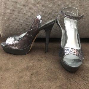 Gray/Silver Glitter heels size 9.5 l